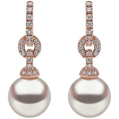 Yoko London South Sea Pearl and Diamond Hoop Earrings in 18 Karat Rose Gold
