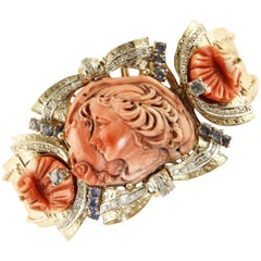 Coral Sapphires Diamonds Rose Gold Goddess Bracelet