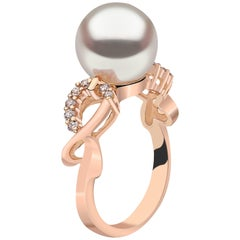 Yoko London South Sea Pearl and Diamond Ring Set in 18 Karat Rose Gold