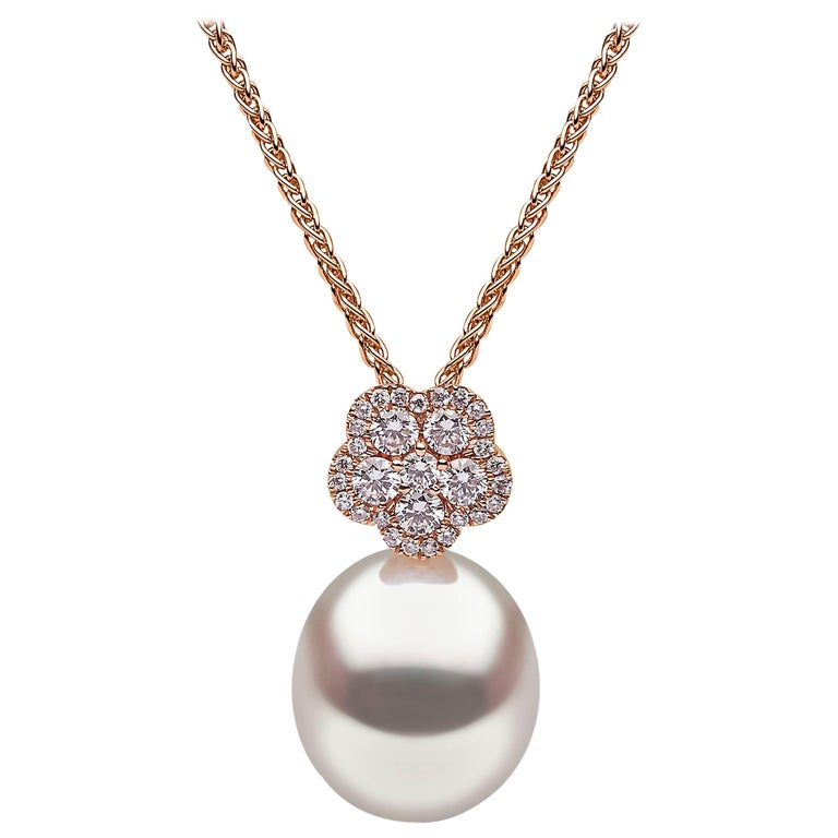 Yoko London South Sea Pearl and Diamond Floral Pendant Set in 18 Karat Rose Gold