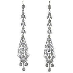 Antique Victorian Earrings Silver Chandelier Drop Earrings, circa 1900