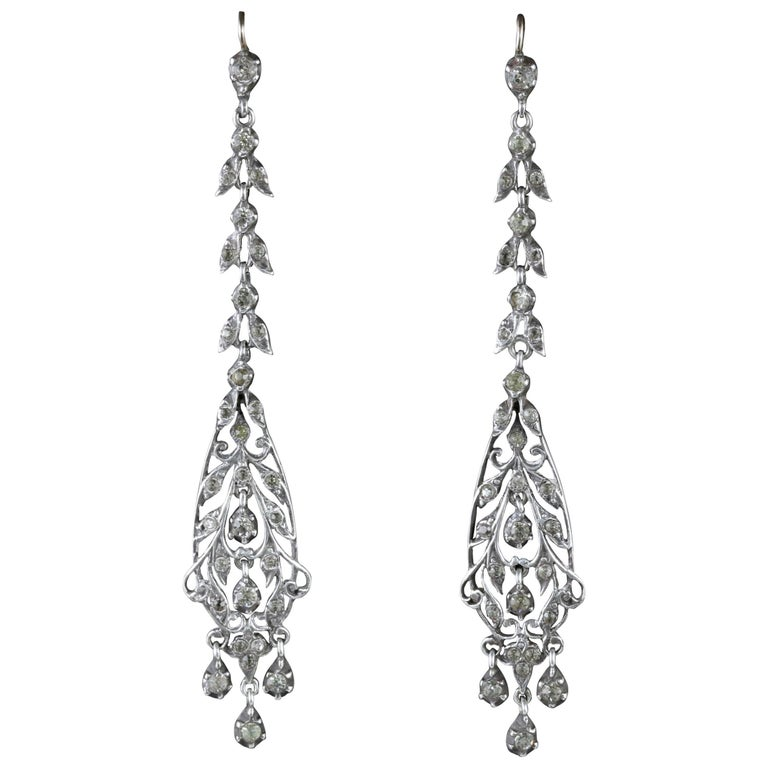 Antique Victorian Earrings Silver Chandelier Drop Circa 1900 For