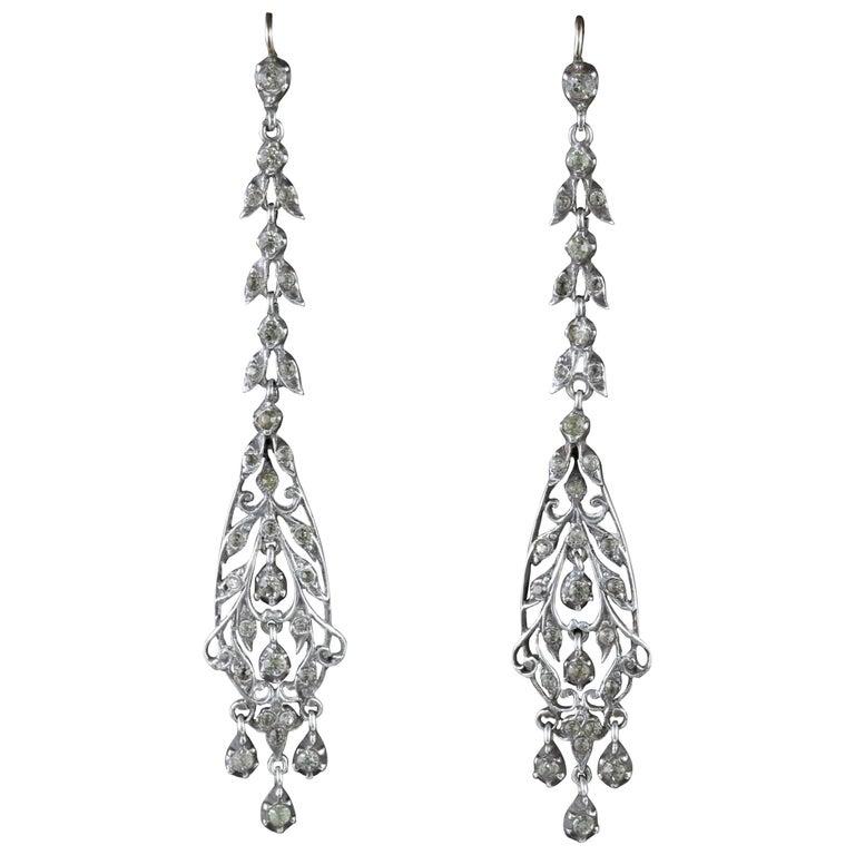 Antique Victorian Earrings Silver Chandelier Drop Earrings, circa 1900
