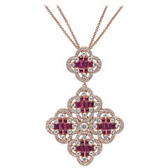 18Kt Rose Gold Ruby gemstone and Diamond Clover Pendant Necklace