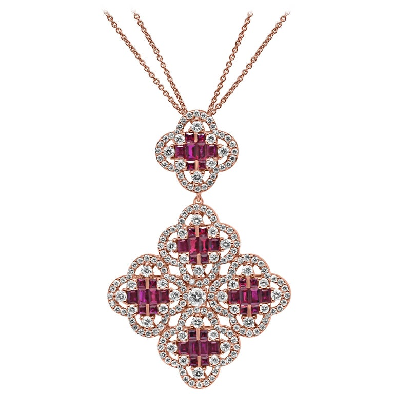 18 Karat Rose Gold Ruby and Diamond Clover Pendant Necklace