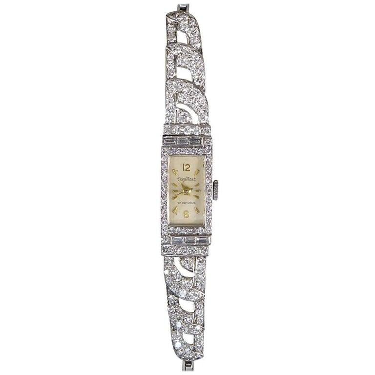 Art Deco 2 Carat Diamond Platinum Working Exquisite Watch