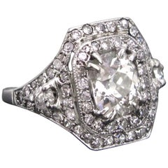 Edwardian Belle Époque Platinum French Diamonds Cushion Cut Ring