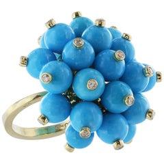 18 Karat Yellow Gold Turquoise and Diamond Ring