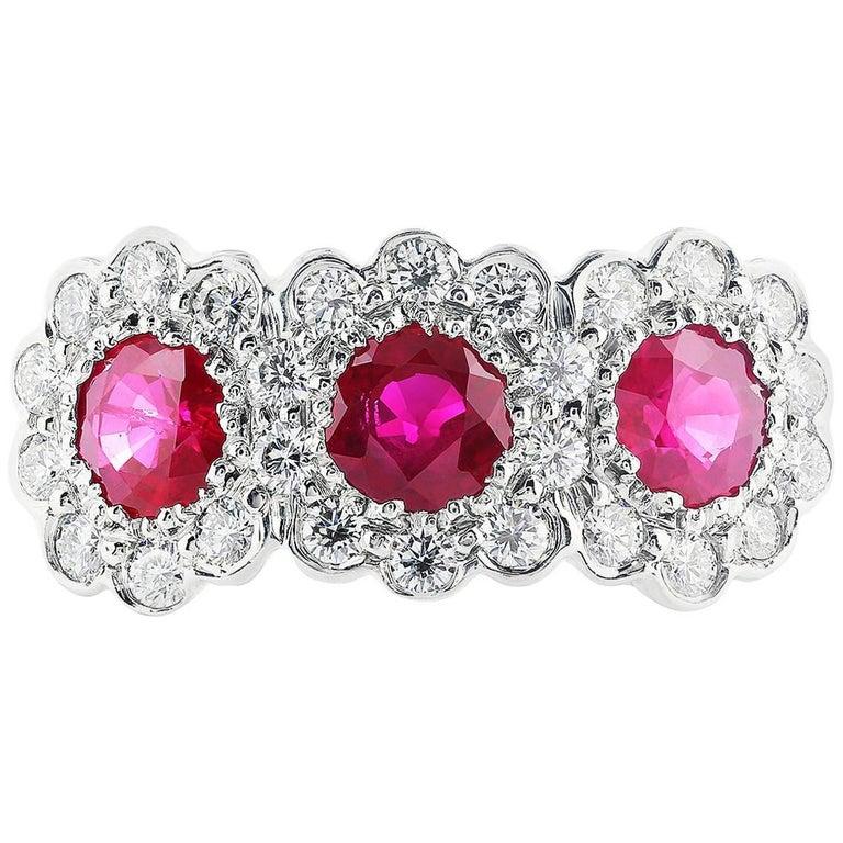 18 Karat White Gold Ruby and Diamond Three-Stone Ring