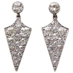 Art Deco Diamond and White Gold Shield Earrings