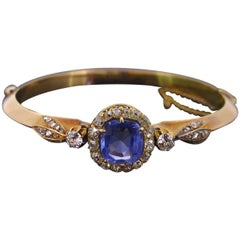 Victorian Ceylon Sapphire Diamonds Gold Bracelet Bangle