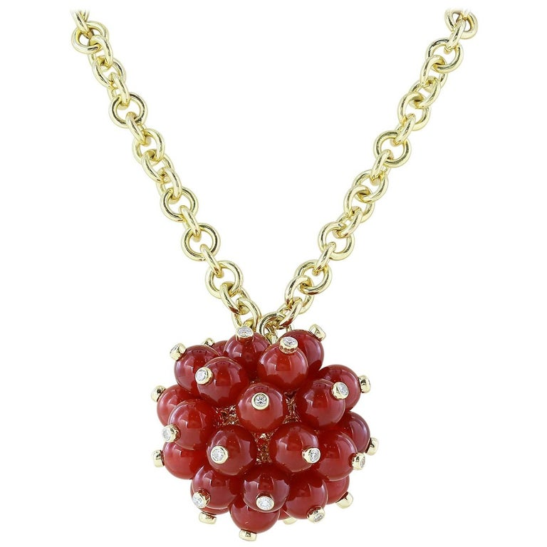 18 Karat Yellow Gold Coral Diamond Carolina Pom Pom Necklace