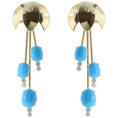 18 Karat Yellow Gold Turquoise and Diamond Waterfall Earrings