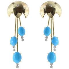 18 Karat Yellow Gold Turquoise and Diamond Waterfall Earrings