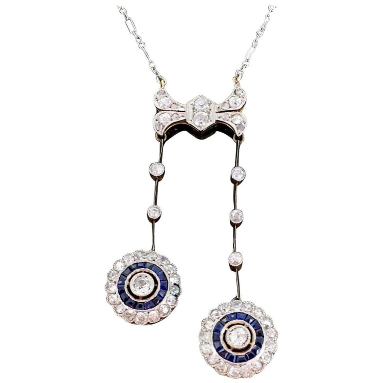French Belle Époque Edwardian Sapphires and Diamonds Chain Neglige Necklace