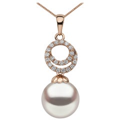 Yoko London Akoya Pearl and Diamond Pendant Set in 18 Karat Rose Gold