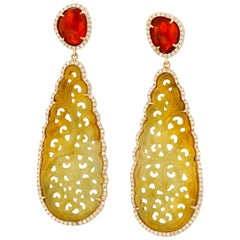 Jade and Fire Opal Diamond Gold Earrings