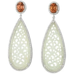 Jadeite Jade Brown Zircon Diamond and White Gold Drop Earrings