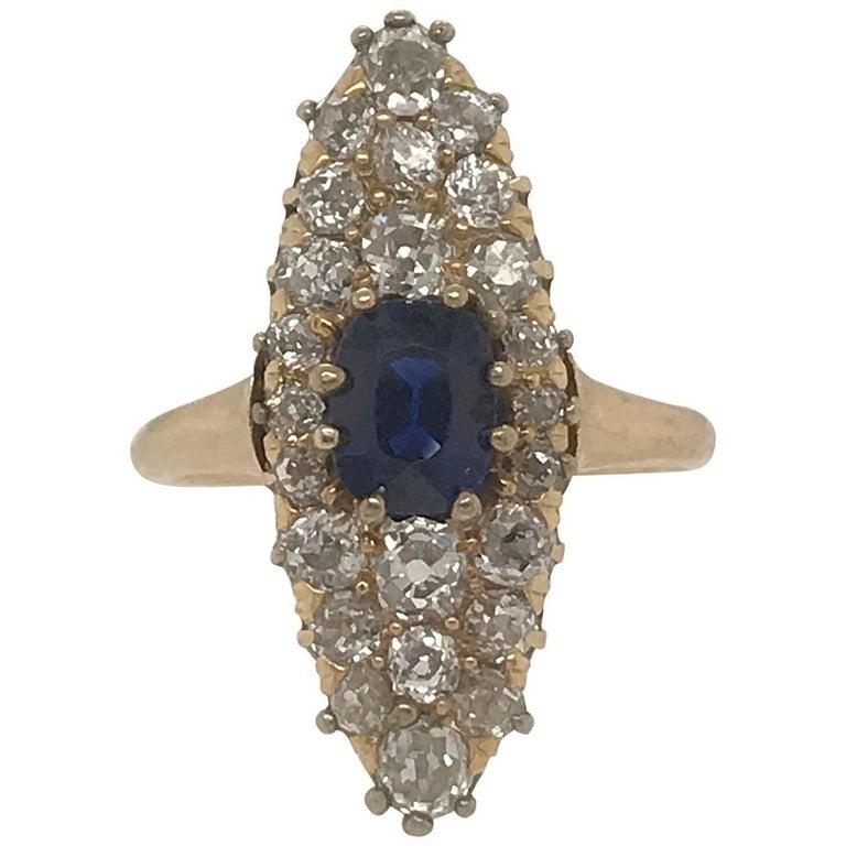 Cushion Cut Sapphire and Old Mine Cut Diamond Ring 14 Karat Yellow Gold