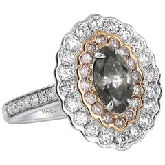 GIA Fancy Dark Grey Diamond Pink Diamond White Diamond Gold Ring