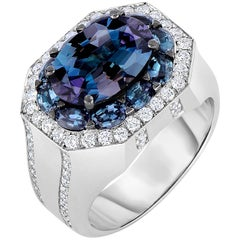 5.9 Carat Natural Alexandrite and 0.92 Carat White Diamond Ring