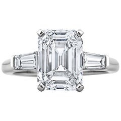 GIA Certified Vintage 3.46 Carat Emerald Cut Diamond Engagement Ring