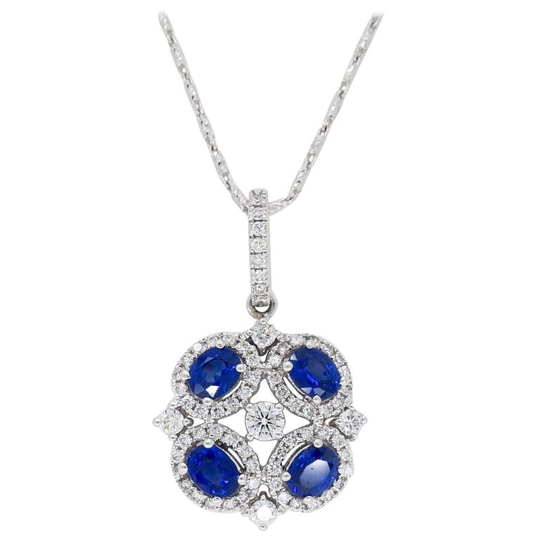 18 Karat White Gold Diamond and Blue Sapphire Necklace