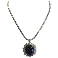 Estate Blue Sapphire Oval Cabochon and Diamond Necklace in 18 Karat White Gold