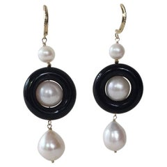 Pearl and Onyx Earrings with 14 Karat Yellow Gold Stud by Marina J.