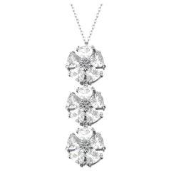 White Topaz Triple Blossom Stone Lariat Necklace