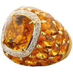 Citrine Diamond Halo Gold Cocktail Ring