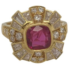 Vintage Ruby and Diamond Ring in 18 Karat Yellow Gold