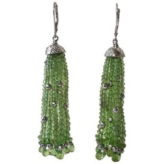 Peridot and White Gold-Plated Silver Tassel Earrings by Marina J.