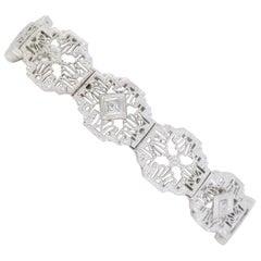 14 Karat White Gold Filigree Diamond Bracelet