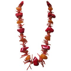 Coral and Amber Beaded Necklace with Yellow Gold Plated Silver by Marina J.