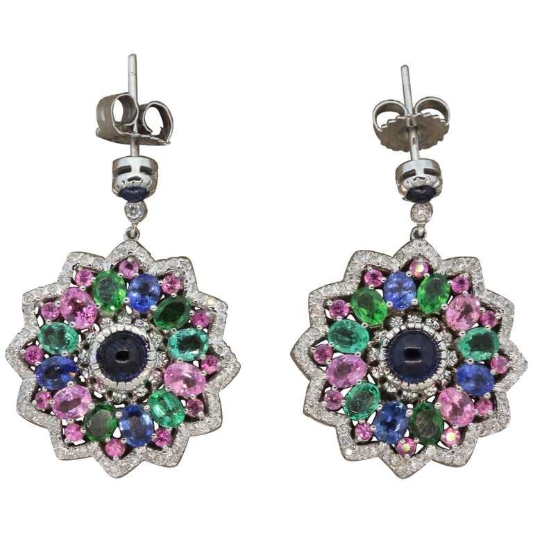Diamond Sapphire Tourmaline Tsavorite Gold Drop Earrings