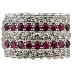 1950s Ruby and Diamond Five-Row Ring in White Gold