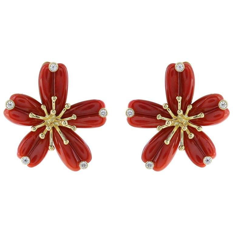 18 Karat Yellow Gold Coral and Diamond Floral Motif Earrings