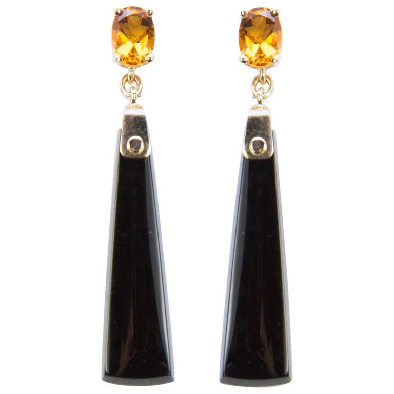 Citrine and Onyx Drop Gold Earrings
