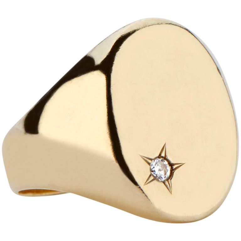 18 Karat Gold and Diamond Classic Signet Ring