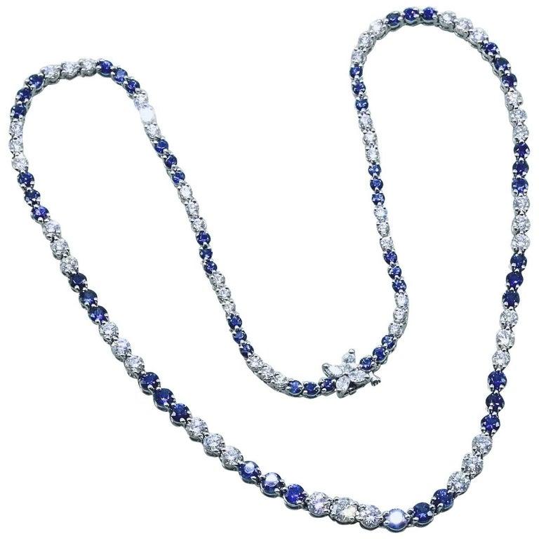 Tiffany & Co. Victoria Diamond and Sapphire Necklace 11.68 TCW Platinum