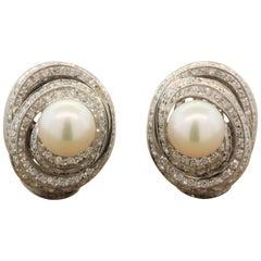 Diamond Swirl Akoya Pearl Gold Earrings