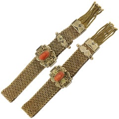 Victorian 10 Karat Gold Enamel Coral Cameo Matched Mesh Bracelets, circa 1870s
