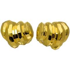 "18 Karat Yellow Gold ""Facets"" Motif Ear Clips by Rotkel"