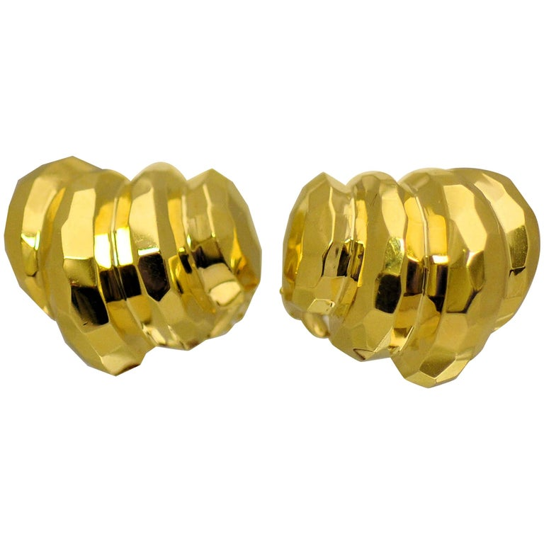 "18 Karat Yellow Gold ""Facets"" Motif Ear Clips by Rotkel For Sale"