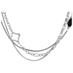 Diamond and Onyx Quatrefoil Multi Strand Necklace