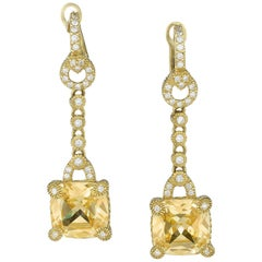 Judith Ripka Gold Citrine and Diamond Earrings