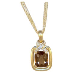 Frederic Sage Cushion Smokey Quartz and Diamond Pendant with Chain