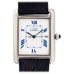 Cartier Sterling Silver Tank Louis Quartz wristwatch Ref 2414, circa 2000s