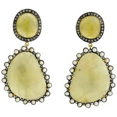 Sliced Yellow Sapphire Earring with Diamonds and Pearls Around